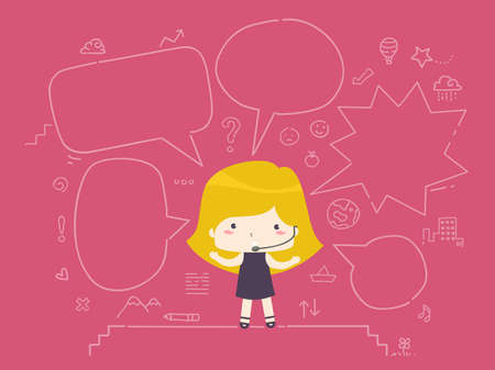 Illustration of a Kid Girl Wearing Microphone Headset with Doodles of the Stage and Blank Speech Bubbles