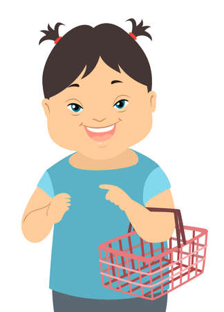 Illustration of a Kid Girl with Down Syndrome Carrying a Grocery Shopping Basket and in a Social Skills Training Иллюстрация