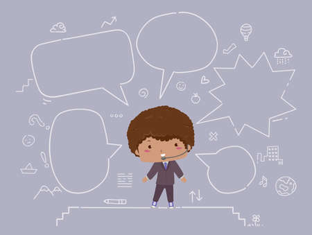 Illustration of a Kid Boy with Microphone Headphone and Doodles of the Stage and Blank Speech Bubbles Vectores
