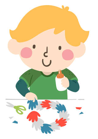 Illustration of a Kid Boy Making a Hand Print Wreath Using Hand Paper Cut Outs, Scissors and Glue