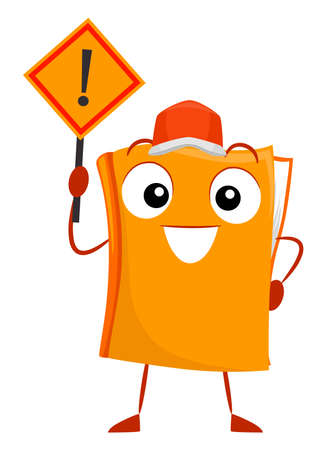Illustration of a Book Mascot Wearing an Orange Hat and Holding an Exclamation Point Sign. Disaster and Risk Reduction or Management