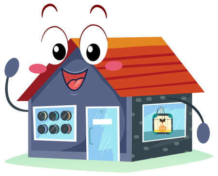 Illustration of a 3D Printing Mascot Shop with 3D Printer and Filaments by the Window