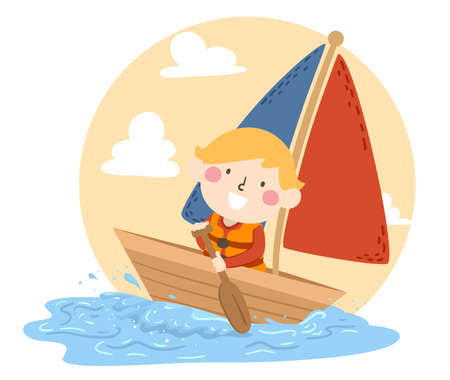 Illustration of a Kid Boy Rowing Boat Oars and Sailing in the Seas