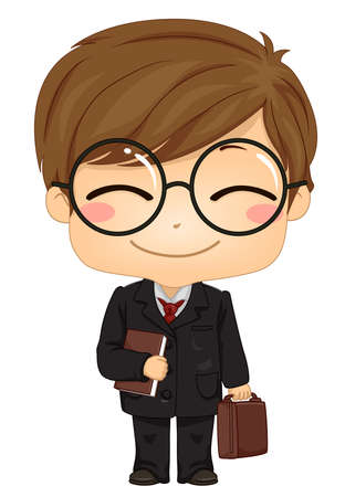 Illustration of a Kid Boy Wearing Business Suit and Holding a Book and Carrying a Briefcase Иллюстрация