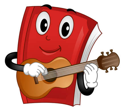 Illustration of a Book Mascot Holding a Pick and Playing the Guitar. Song Book or Guitar Lesson Book