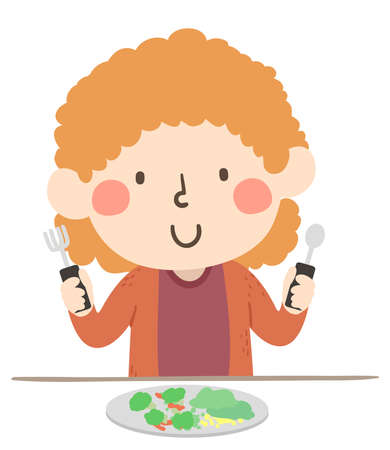 Illustration of a Kid Girl with Arthritis Holding Spoon and Fork Adoptive Tools for Eating