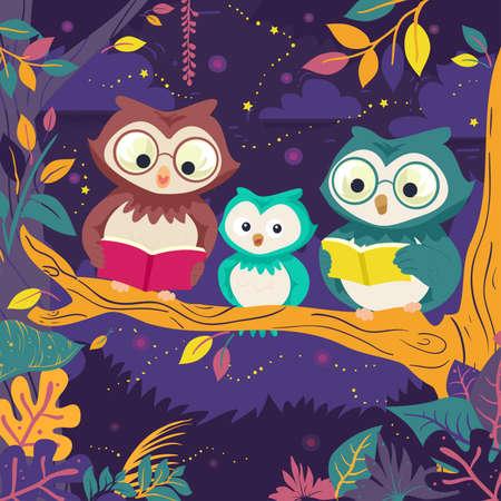Illustration of Owl Family Mascot Reading Books on Tree at Night