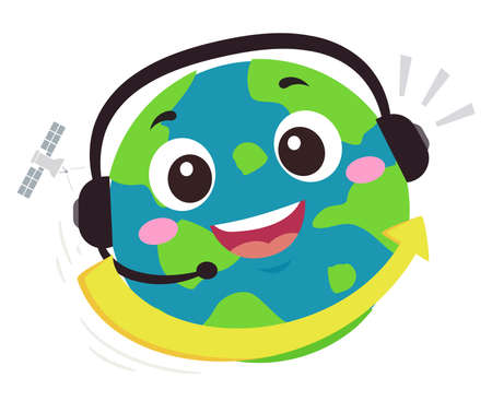 Illustration of an Earth Mascot Wearing Headset with Arrow Pointing to the Other Side. International Hotline Support