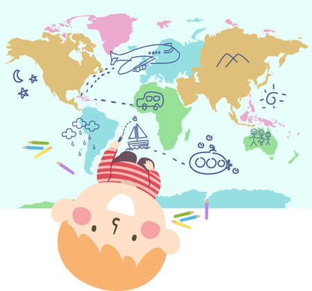 Illustration of a Kid Boy Looking Up and Drawing Doodles on a Map from Airplane, Mountains, Submarine, Sailboat, Clouds and Star
