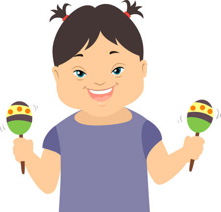 Illustration of a Kid Girl with Down Syndrome Holding Maracas for Music Therapy