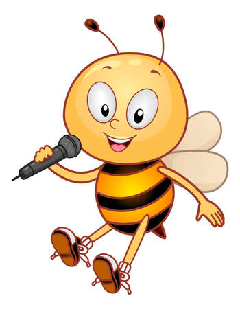Illustration of a Bee Mascot Holding a Microphone Singing a Song
