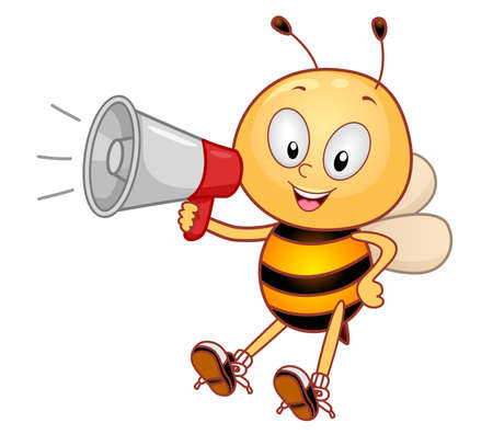 Illustration of a Bee Mascot Smiling and Holding a Megaphone