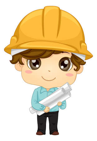 Illustration of a Kid Boy Engineer Wearing a Yellow Hard Hat and Holding Several Rolls of Building Plans Vectores