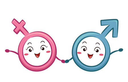 Illustration of a Male and Female Symbol Mascots Holding Hands