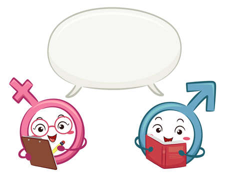Illustration of a Male and Female Symbol Mascots with Blank Speech Bubbles, One Holding a Clipboard and Another Reading a Book Vectores