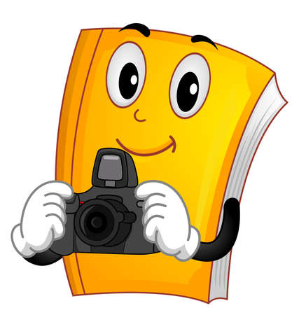 Illustration of a Book Mascot Holding a Camera for Photography Vectores