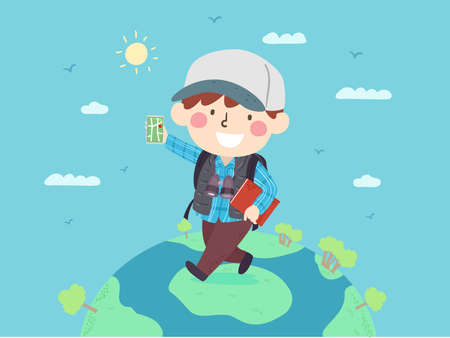 Illustration of a Kid Boy Walking on the Top of the World Carrying Binoculars, a Book and a Mobile Phone with a Map App for Travel Vectores