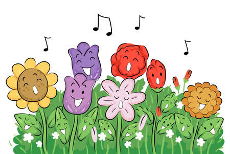 Illustration of Flowers Mascots Singing in the Garden with Music Notes Above Them