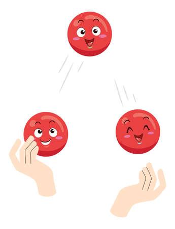Illustration of a Hand Juggling Three Red Juggle Ball Mascots