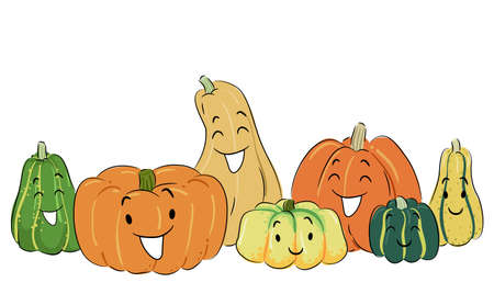 Illustration of Different Pumpkin Mascots in Green, Orange and Yellow Colors