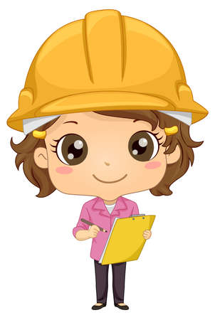 Illustration of a Kid Girl Engineer Wearing a Yellow Construction Hard Hat and Carrying Pencil and Clipboard