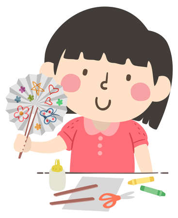 Illustration of a Kid Girl Making and Drawing on a Paper Fan with Glue, Crayons, Sticks, Paper and Scissors