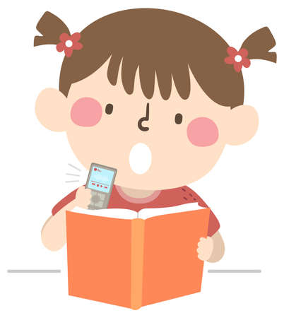 Illustration of a Kid Girl Using a Recorder and Recording Her Notes While Studying and Reading a Book