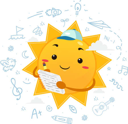 Illustration of a Sum Mascot Wearing Cap and Writing Notes on His Journal About Summer Vectores