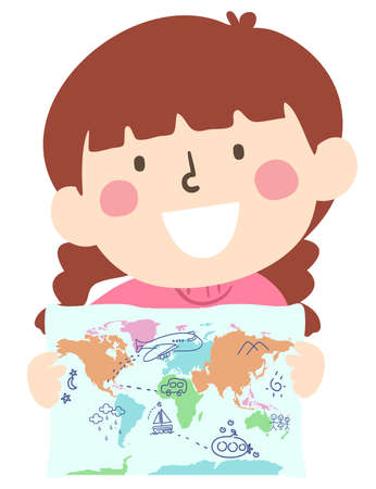 Illustration of a Kid Girl Holding a World Map with Her Doodles of Airplane, Submarine, Car, Sailboat, Mountains, Stars and Clouds