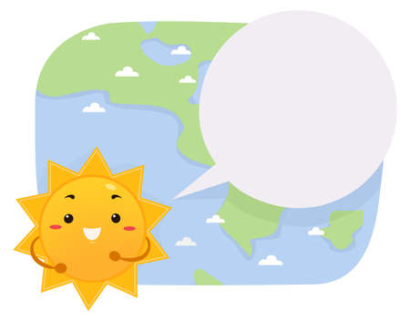 Illustration of a Sun Mascot Weather Reporter with Blank Speech Bubble