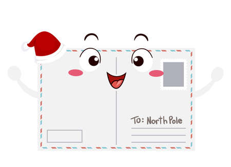 Illustration of a Postcard Mascot with Christmas Santa Claus Hat and To North Pole Letter