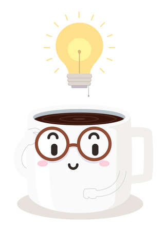 Illustration of a Coffee Cup Mascot Wearing Eyeglasses with a Bright Light Bulb Above. Study Hack Ideas.