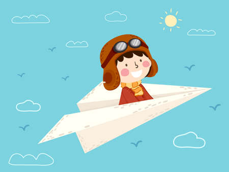 Illustration of a Kid Boy Pilot Sitting on a Paper Plane Flying in the Sky Vectores
