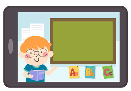Illustration of a Kid Boy Inside a Tablet Computer Teaching ABC with a Blank Blackboard