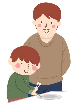 Illustration of a Kid Boy Placing Fork on Plate with a Man Helping Him in Occupational Therapy
