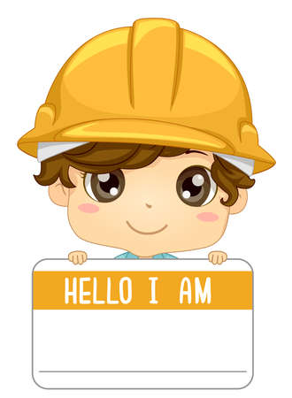 Illustration of a Kid Boy Wearing a Yellow Construction Hard Hat and Holding a Hello I am Name Tag Vectores