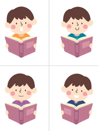 Illustration of a Kid Boy Wearing Different Clothes and Studying the Same Book. Study Hack