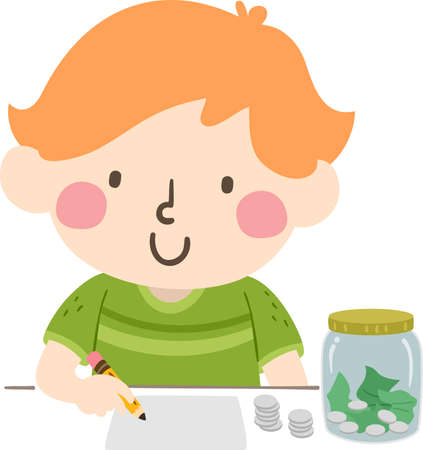 Illustration of a Kid Boy Writing Down His Budget on Paper with a Jar of His Savings in Coins and Cash