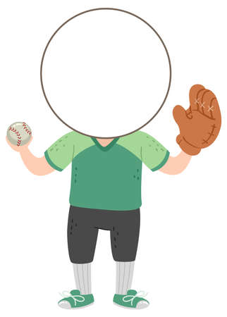 Illustration of a Kid Boy with Template Head Wearing Baseball Uniform and Gloves and Holding a Ball Vectores