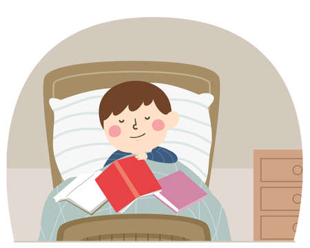 Illustration of a Kid Boy Sleeping On His Bed with Unfinished Books