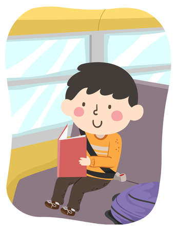 Illustration of a Kid Boy Studying and Reading a Book While Riding a Bus