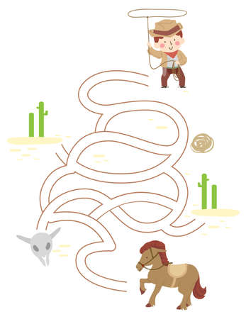 Illustration of a Kid Boy Cowboy Going Through a Puzzle to Get to His Horse