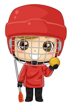 Illustration of a Kid Boy Wearing Helmet and Holding Ball and Broom Stick Playing Broomball