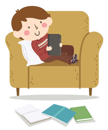 Illustration of a Kid Boy Sitting Down and Surfing the Net Using a Computer Tablet, Procrastinating with Open Books on the Floor Vectores