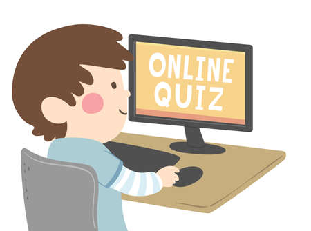 Illustration of a Kid Boy Taking an Online Quiz Using a Computer