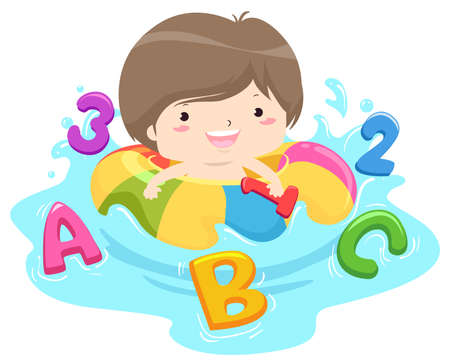 Illustration of a Kid Boy Playing in Pool with ABC and 123