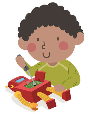 Illustration of a Kid Boy Using Screw Driver and Repairing His Robot Toy