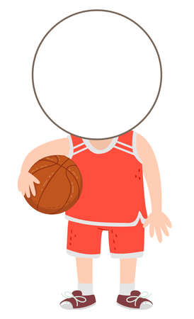 Illustration of a Kid Boy Template Head Wearing Basketball Uniform and Holding the Ball