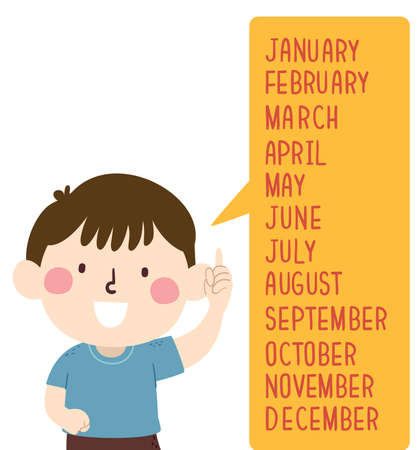 Illustration of a Kid Boy and a Speech Bubble with All the Months from January to December