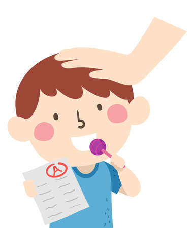 Illustration of a Kid Boy Eating a Lollipop as a Reward for Showing His Exam Papers with Top Grades Vectores